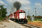 Univ. of Alabama locomotive blows a cloud of smoke
