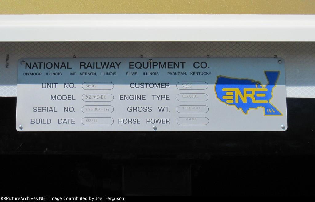 NREX 2GS36C-DE 3600 plate