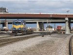 GY11 works the intermodal yard as G39 sits