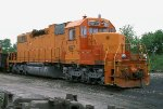 EJ&E 657, EMD SD38-2, being prepped before getting a fresh coat of orange and silver paint at Relco's shops