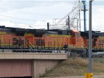 BNSF 4476 #4 power in a NB manifest at 4:31pm, stopping for crew change