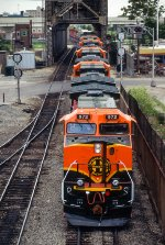 BNSF 972, GE C44-9W, First group of GE repainted New GE's, westbound on Conrail ELBNA at 18th Street