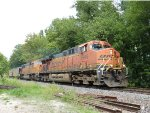 BNSF GEVO and SD70MAC lead a coal south on the K-Line