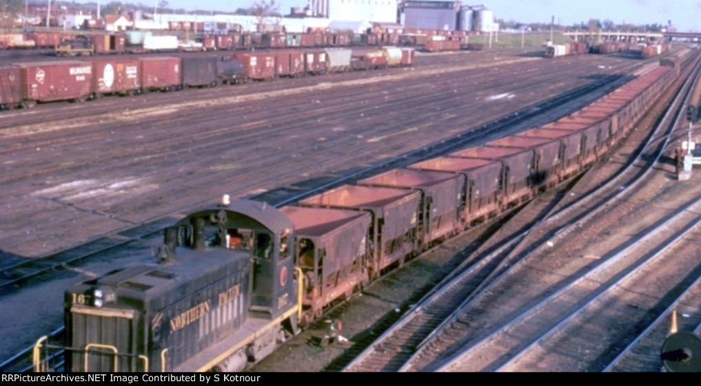 Northern Pacific switchers at Northown yard Mpls Mn in 1969.