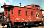 Great Northern 34 wooden caboose in MN in 1969.