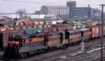 A Great Northern freight passing Northtown yard in Fridley MN in 1972.