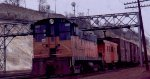A Milwaukee Road Baldwin switcher at Daytons Bluff yard in St Paul MN in 1968.