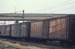 GN, NP and Milwaukee Road 40 box cars in Mpls, MN in 1969.