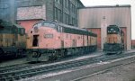 F units at the Milwaukee Road St Paul engine house at Daytons Bluff in Nov 1979.