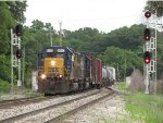 Q335 rolls onto Track 1 as it passes through the OS at Seymour