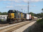 CSX 8500 & 4019 lead Q335-25 down Track 1 away from Seymour