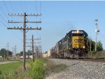 CSX 8566 & 8616 lead Q334-27 eastward on the Grand Rapids Sub