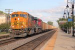 Westbound empty hoppers roll thru town behing BNSF/Ferromex power