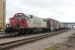 A SOO GP38 takes headroom drilling cars at Bensenville Yard's east end