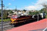 AC4400 KCSM Locomotives leading a train