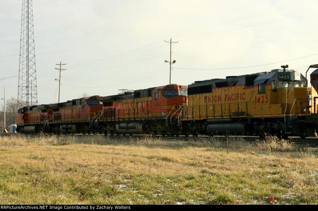 BNSF 4810 4844 4482 UP 1425