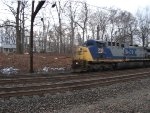CSX 210 leading the circus train through Woodbourne station