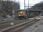 CSX 5318 leads an intermodal through Woodbourne, look right of the engine and notice the dwarf signal, tiny isn't it?