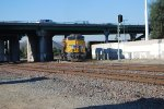 UP 7503 passes under the I-10 Westbound overpass as she pushes a Hot Z for UP as a rear DPU towards the UP Colton Yard.