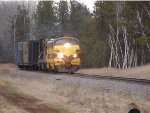 Erie Mining 4211 leading four car transfer from Escanaba to Pembine on CN at Algoma Jct.