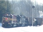 WC 7510 and IC 3138 on SORE1 at Eagle Mills Jct.  CN line to Ishpeming on right.