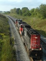 CN 5674 and 2694 backing down Byron Hill to FDL