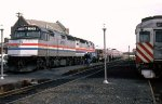 Amtrak F-40-PH #331 sits with the test train in the old station