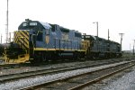 Fairly freshly painted D&H GP-38-2 #7316 sits with 2 others at Eastside Yard