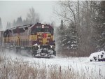 WC 7523 leading northbound in the snow