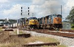 14:00 SB coal train departs wih new crew while SB intermodal zooms by