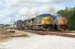 14:00 SB coal train depart wih new crew while SB intermodal zooms by