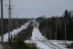 IC 3107 leading 411 south to Green Bay kicking up some snow.