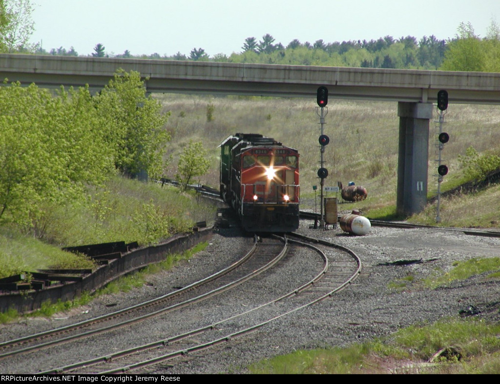 CN 5348 passing under HWY 35