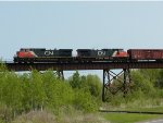 CN 2639 on bridge over Lake Superior and Mississippi RR