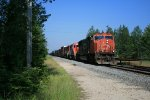 CN 5702 passing over old Nahma Northern jct and cut siding on left