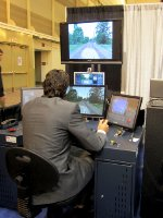 Train simulator being demonstrated