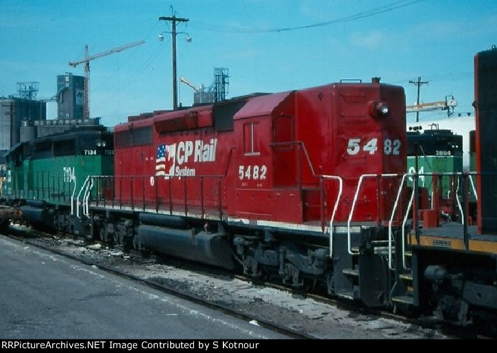 A CP sd40-2 (high nosed former NS unit) in 2007 in Mpls MN.