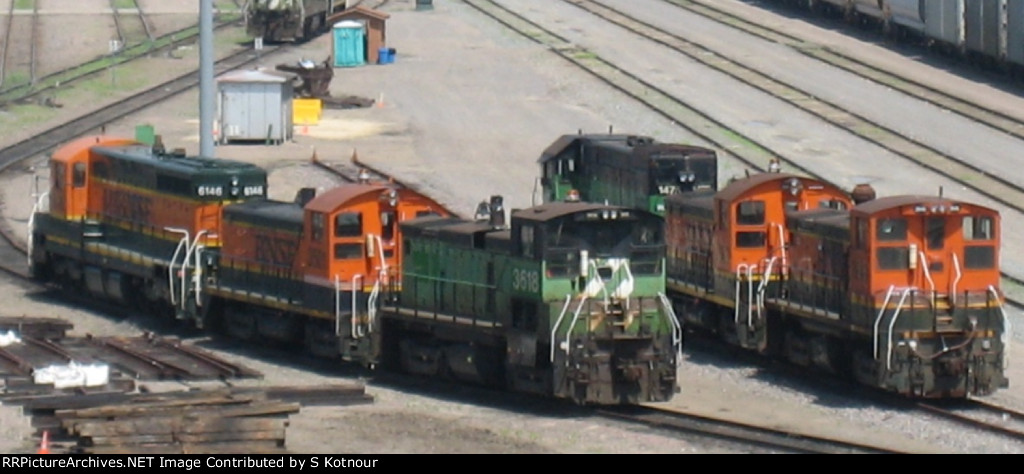 A mix of GN, NP and CBQ units stored on the BNSF at Northtown in 2007
