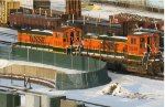Retired BNSF switchers at Northtown yard in 2005.