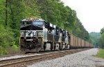 Southbound coal train awaiting a fresh crew