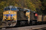Union Pacifc 5837 and Union Pacific going east with black rocks.