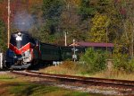 The Stourbridge Line Fall Foliage Excursion blowing through the Hawley Station