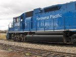 Kelowna Pacific Railway train passes through the Okanagan Valley Railways yard. GMTX 2641