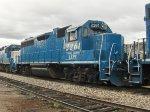 Kelowna Pacific Railway train passes through the Okanagan Valley Railways yard. LLPX 2261