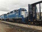 Kelowna Pacific Railway train passes through the Okanagan Valley Railways yard. GMTX 2632