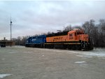 BNSF 2047 & 2655 on the station house track.