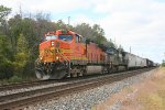 CSX Eastbound with BNSF 4108 as headend power with mixed freight just East of St. Joe, IN 10/1/2011