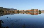 BNSF 5753 leading a Scherer train along beautiful lake Nickajack