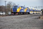 Commuter train pushes eastbound
