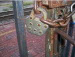 ATSF lock on gate at Temple